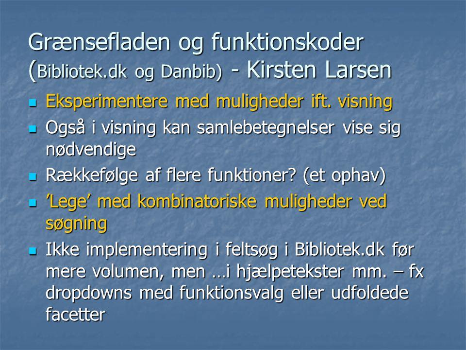 Grænsefladen og funktionskoder ( Bibliotek.dk og Danbib) - Kirsten Larsen  Eksperimentere med muligheder ift.