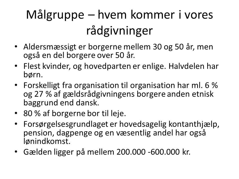 Målgruppe – hvem kommer i vores rådgivninger • Aldersmæssigt er borgerne mellem 30 og 50 år, men også en del borgere over 50 år.