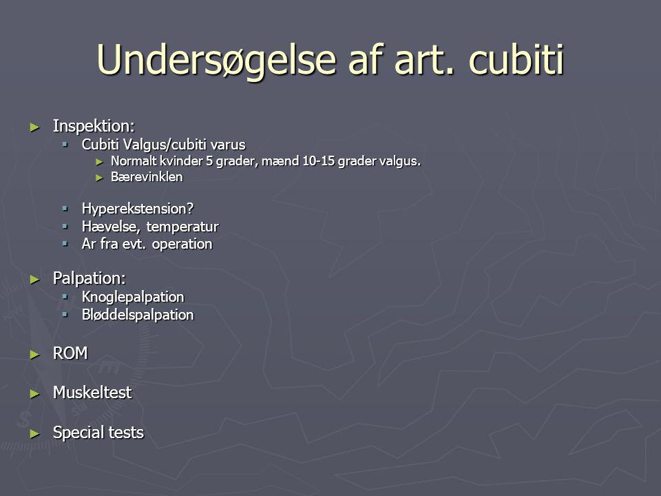 Undersøgelse af art. cubiti ► Inspektion:  Cubiti Valgus/cubiti varus ► Normalt kvinder 5 grader, mænd 10-15 grader valgus. ► Bærevinklen  Hyperekst