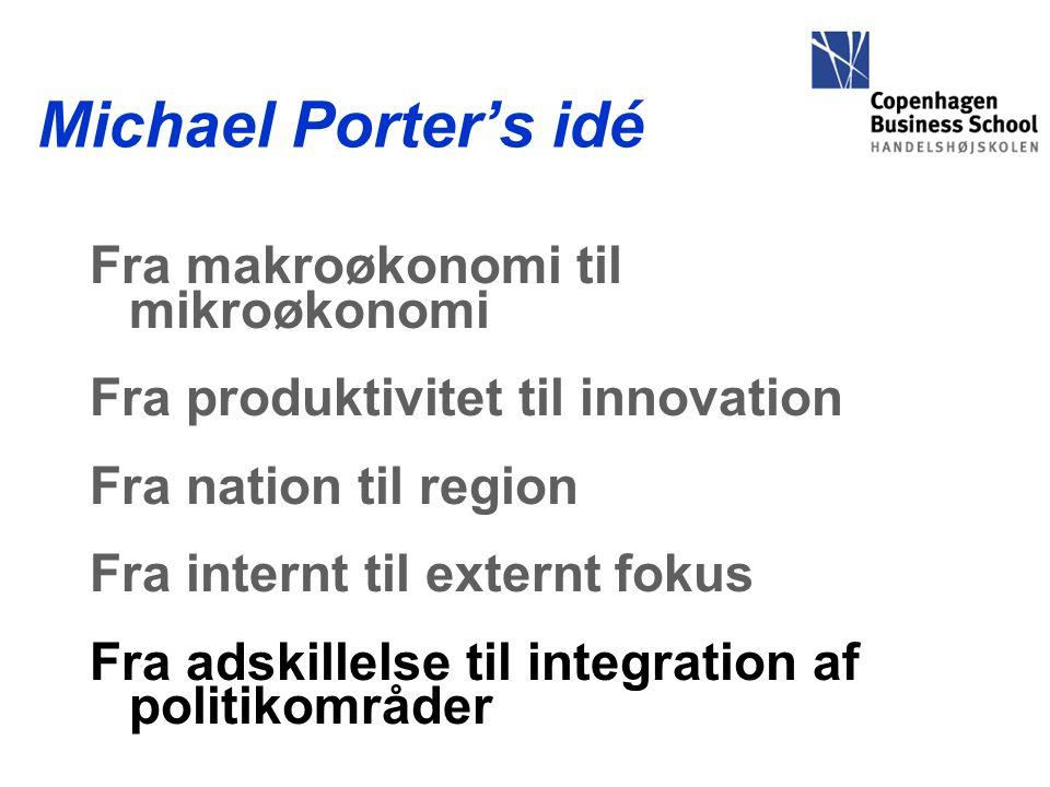Michael Porter's idé Fra makroøkonomi til mikroøkonomi Fra produktivitet til innovation Fra nation til region Fra internt til externt fokus Fra adskillelse til integration af politikområder