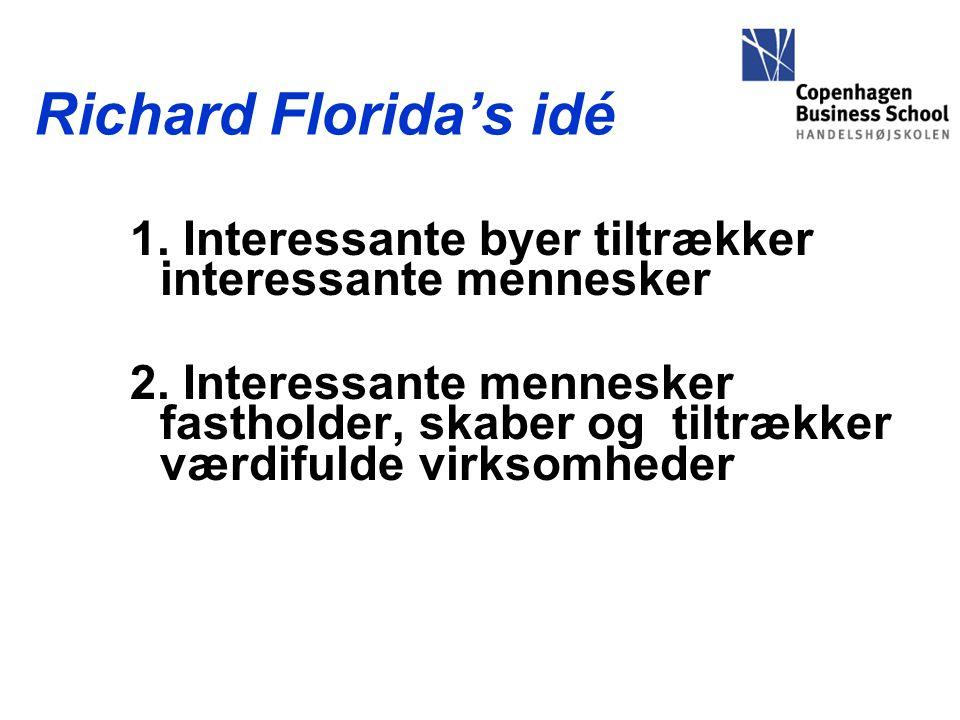 Richard Florida's idé 1. Interessante byer tiltrækker interessante mennesker 2.