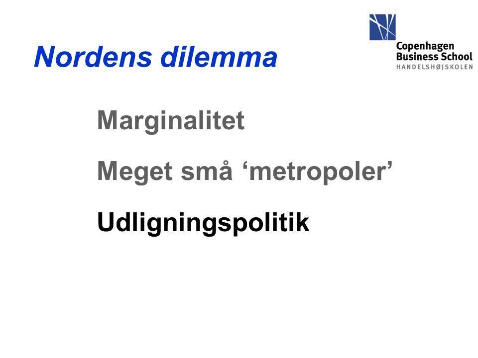 Nordens dilemma Marginalitet Meget små 'metropoler' Udligningspolitik