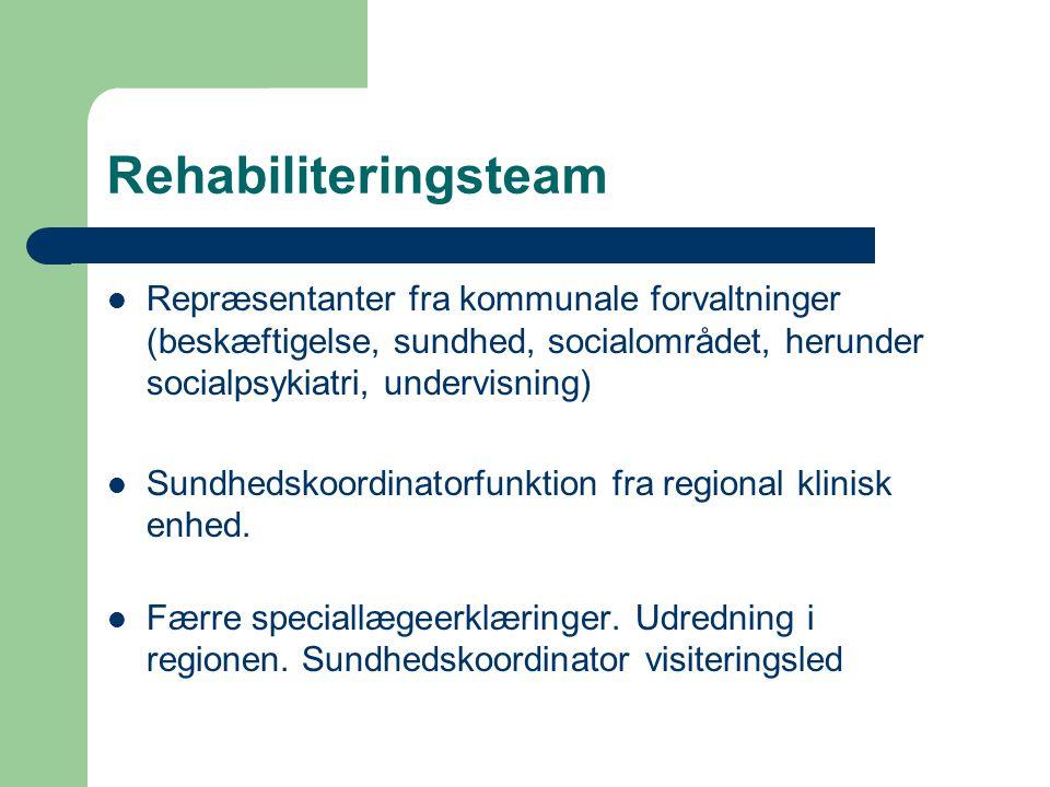 Rehabiliteringsteam  Repræsentanter fra kommunale forvaltninger (beskæftigelse, sundhed, socialområdet, herunder socialpsykiatri, undervisning)  Sundhedskoordinatorfunktion fra regional klinisk enhed.
