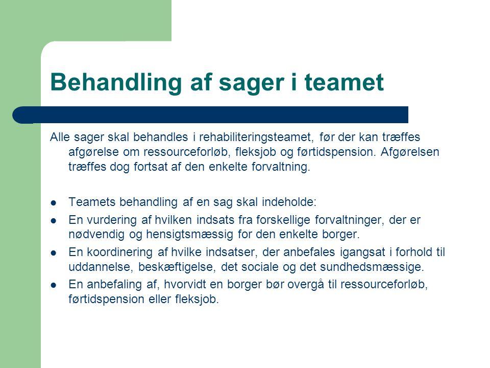 Behandling af sager i teamet Alle sager skal behandles i rehabiliteringsteamet, før der kan træffes afgørelse om ressourceforløb, fleksjob og førtidsp