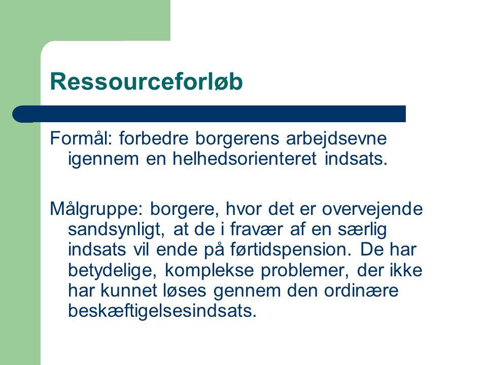 Ressourceforløb Formål: forbedre borgerens arbejdsevne igennem en helhedsorienteret indsats. Målgruppe: borgere, hvor det er overvejende sandsynligt,