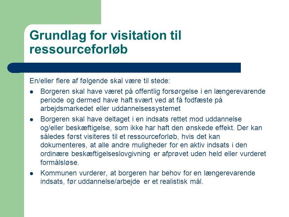 Grundlag for visitation til ressourceforløb En/eller flere af følgende skal være til stede:  Borgeren skal have været på offentlig forsørgelse i en l