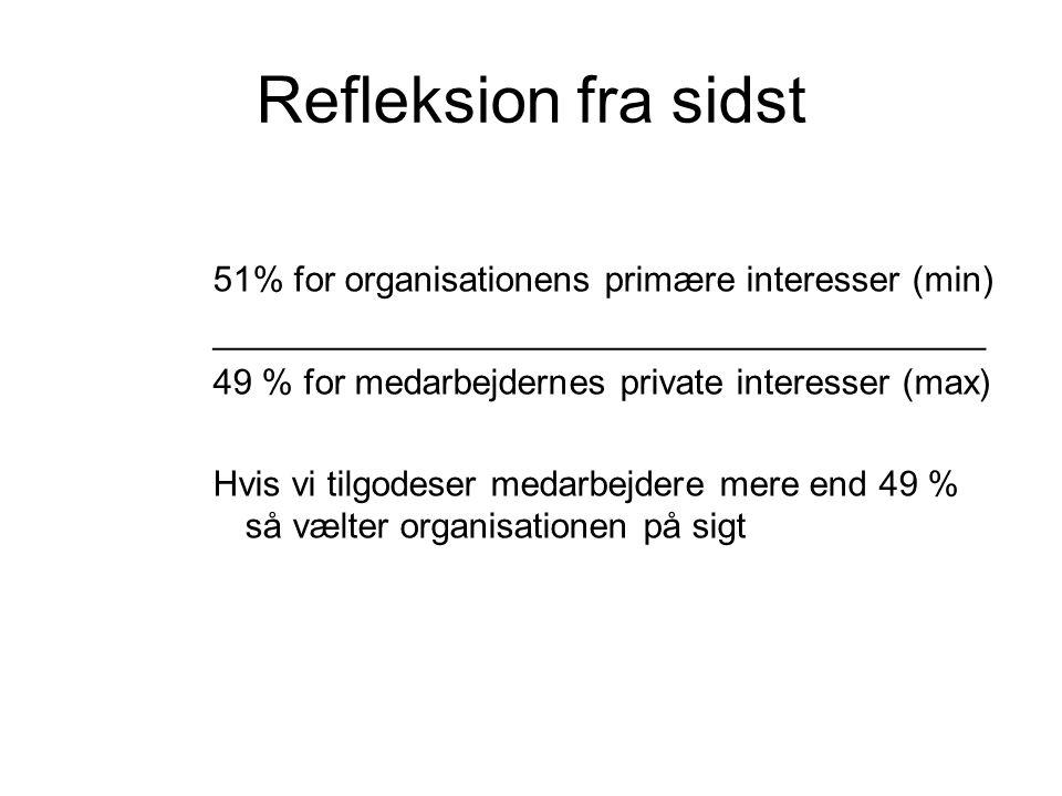 Refleksion fra sidst 51% for organisationens primære interesser (min) _______________________________________ 49 % for medarbejdernes private interess