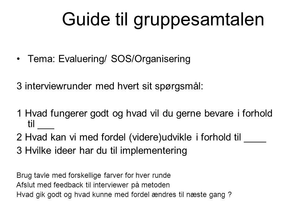 Guide til gruppesamtalen •Tema: Evaluering/ SOS/Organisering 3 interviewrunder med hvert sit spørgsmål: 1 Hvad fungerer godt og hvad vil du gerne beva