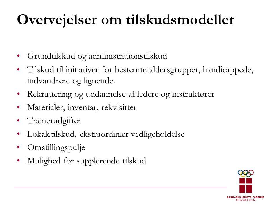 Overvejelser om tilskudsmodeller •Grundtilskud og administrationstilskud •Tilskud til initiativer for bestemte aldersgrupper, handicappede, indvandrere og lignende.