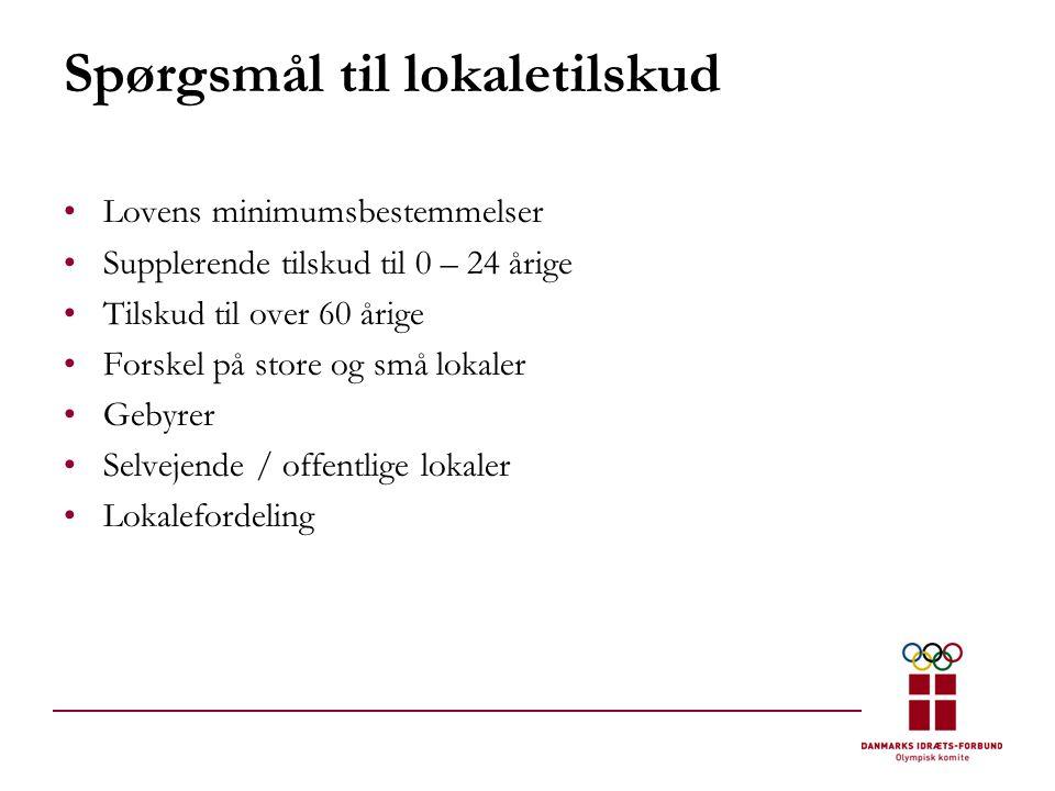 Spørgsmål til lokaletilskud •Lovens minimumsbestemmelser •Supplerende tilskud til 0 – 24 årige •Tilskud til over 60 årige •Forskel på store og små lokaler •Gebyrer •Selvejende / offentlige lokaler •Lokalefordeling