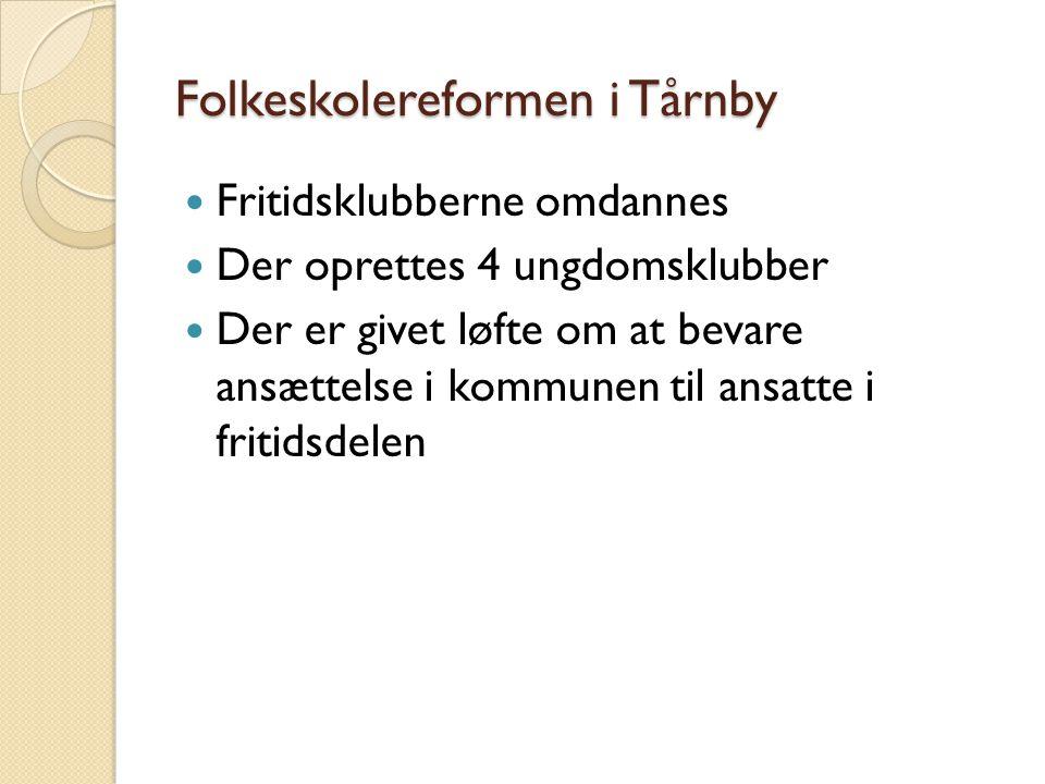 Folkeskolereformen i Tårnby  Fritidsklubberne omdannes  Der oprettes 4 ungdomsklubber  Der er givet løfte om at bevare ansættelse i kommunen til ansatte i fritidsdelen