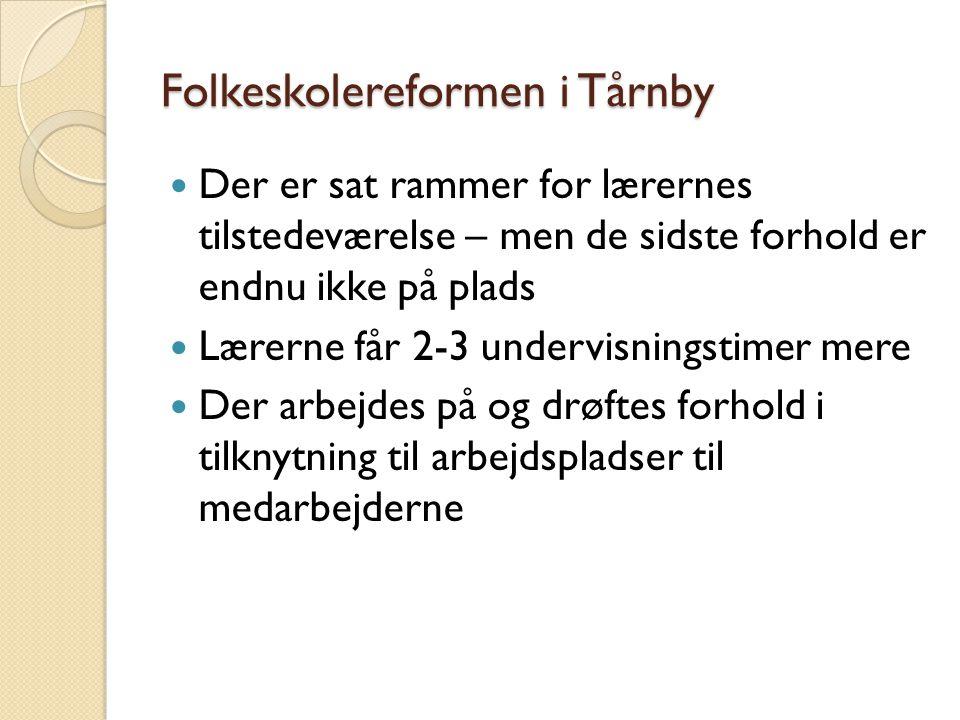 Folkeskolereformen i Tårnby  Der er sat rammer for lærernes tilstedeværelse – men de sidste forhold er endnu ikke på plads  Lærerne får 2-3 undervisningstimer mere  Der arbejdes på og drøftes forhold i tilknytning til arbejdspladser til medarbejderne