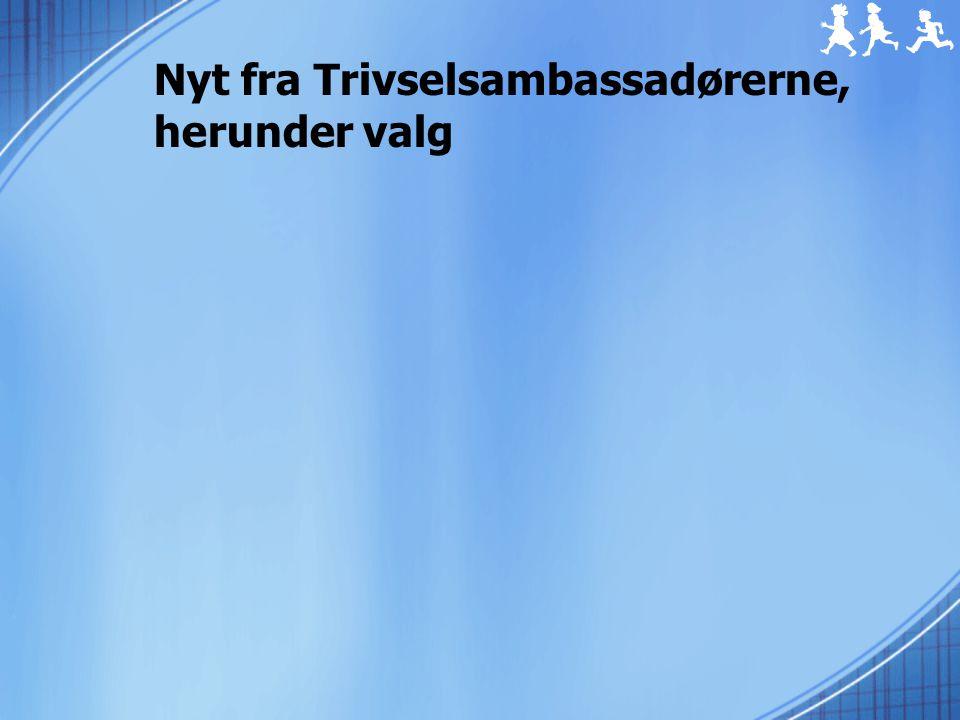Nyt fra Trivselsambassadørerne, herunder valg