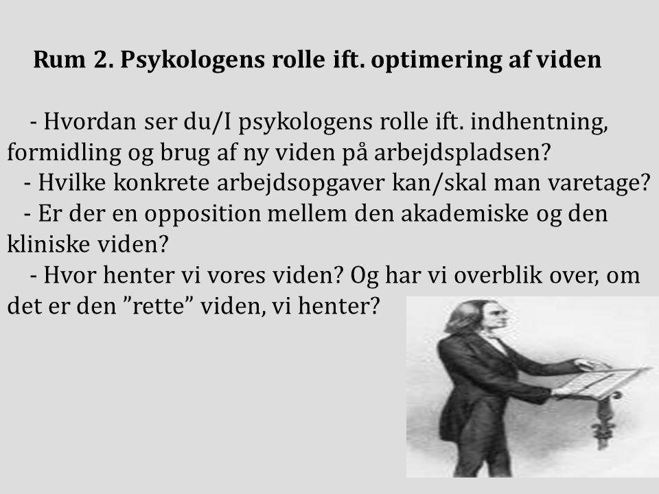 Rum 2. Psykologens rolle ift. optimering af viden - Hvordan ser du/I psykologens rolle ift.
