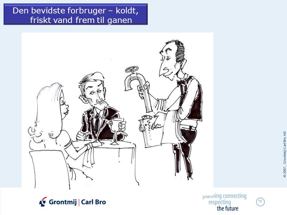 © 2007, Grontmij | Carl Bro A/S 15 Den bevidste forbruger – koldt, friskt vand frem til ganen