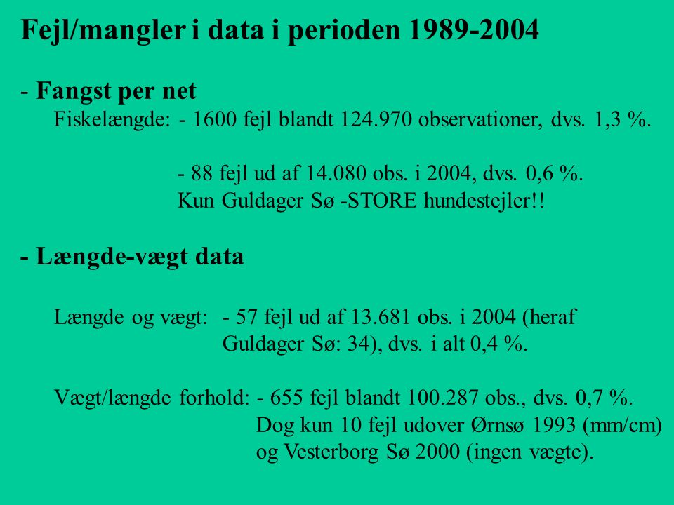 Fejl/mangler i data i perioden 1989-2004 - Fangst per net Fiskelængde: - 1600 fejl blandt 124.970 observationer, dvs.