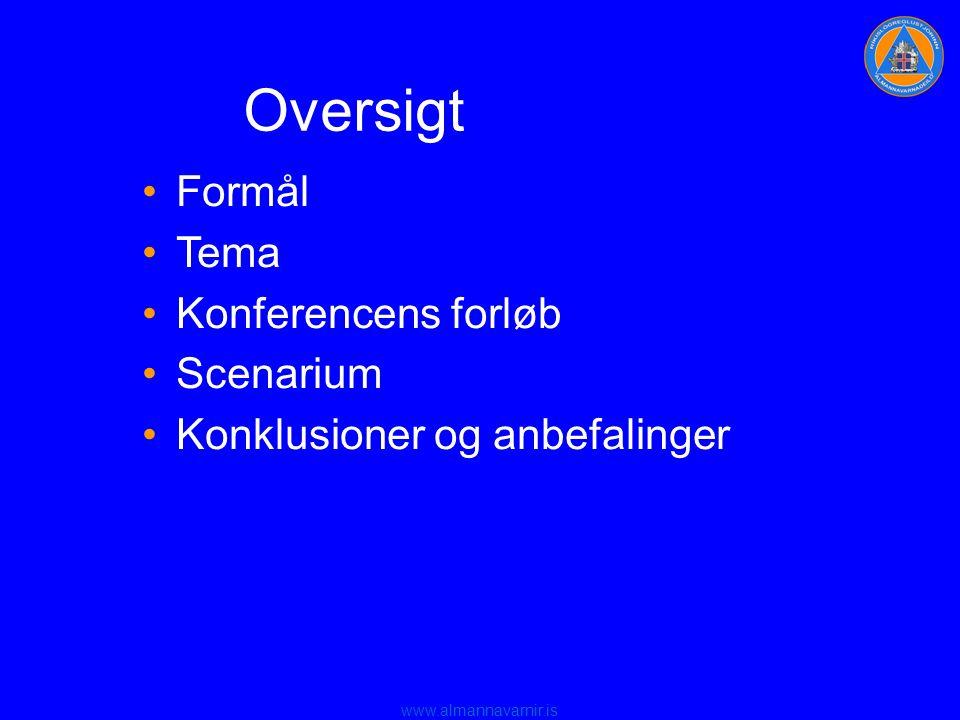 www.almannavarnir.is Oversigt •Formål •Tema •Konferencens forløb •Scenarium •Konklusioner og anbefalinger
