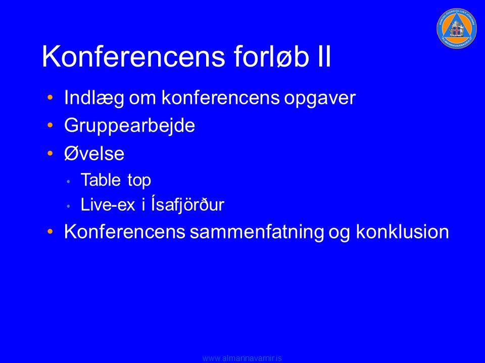 www.almannavarnir.is Konferencens forløb II •Indlæg om konferencens opgaver •Gruppearbejde •Øvelse • Table top • Live-ex i Ísafjörður •Konferencens sammenfatning og konklusion