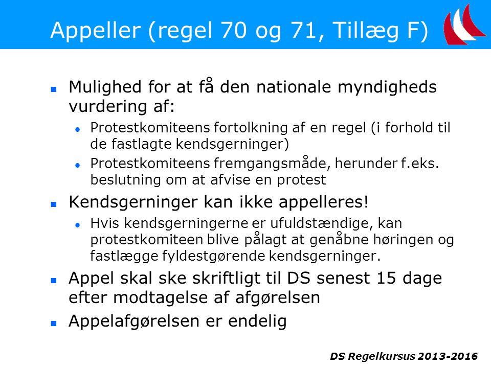DS Regelkursus 2013-2016 Appeller (regel 70 og 71, Tillæg F)  Mulighed for at få den nationale myndigheds vurdering af:  Protestkomiteens fortolkning af en regel (i forhold til de fastlagte kendsgerninger)  Protestkomiteens fremgangsmåde, herunder f.eks.