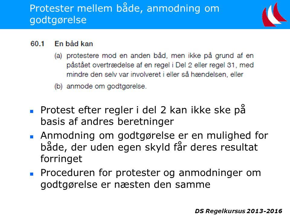 DS Regelkursus 2013-2016 Protester mellem både, anmodning om godtgørelse  Protest efter regler i del 2 kan ikke ske på basis af andres beretninger  Anmodning om godtgørelse er en mulighed for både, der uden egen skyld får deres resultat forringet  Proceduren for protester og anmodninger om godtgørelse er næsten den samme