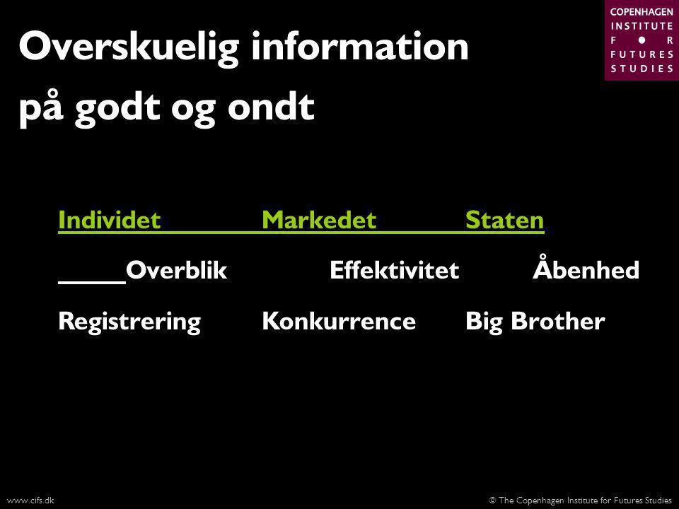 © The Copenhagen Institute for Futures Studieswww.cifs.dk Overskuelig information på godt og ondt IndividetMarkedetStaten OverblikEffektivitetÅbenhed RegistreringKonkurrenceBig Brother