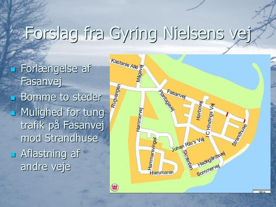 Forslag fra Gyring Nielsens vej  Forlængelse af Fasanvej  Bomme to steder  Mulighed for tung trafik på Fasanvej mod Strandhuse  Aflastning af andre veje