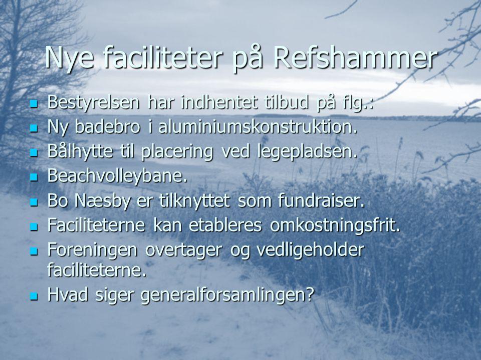 Nye faciliteter på Refshammer BBBBestyrelsen har indhentet tilbud på flg.: NNNNy badebro i aluminiumskonstruktion.