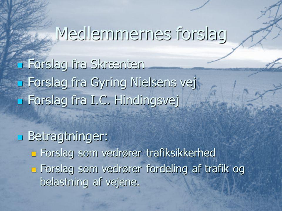 Medlemmernes forslag FFFForslag fra Skrænten FFFForslag fra Gyring Nielsens vej FFFForslag fra I.C.