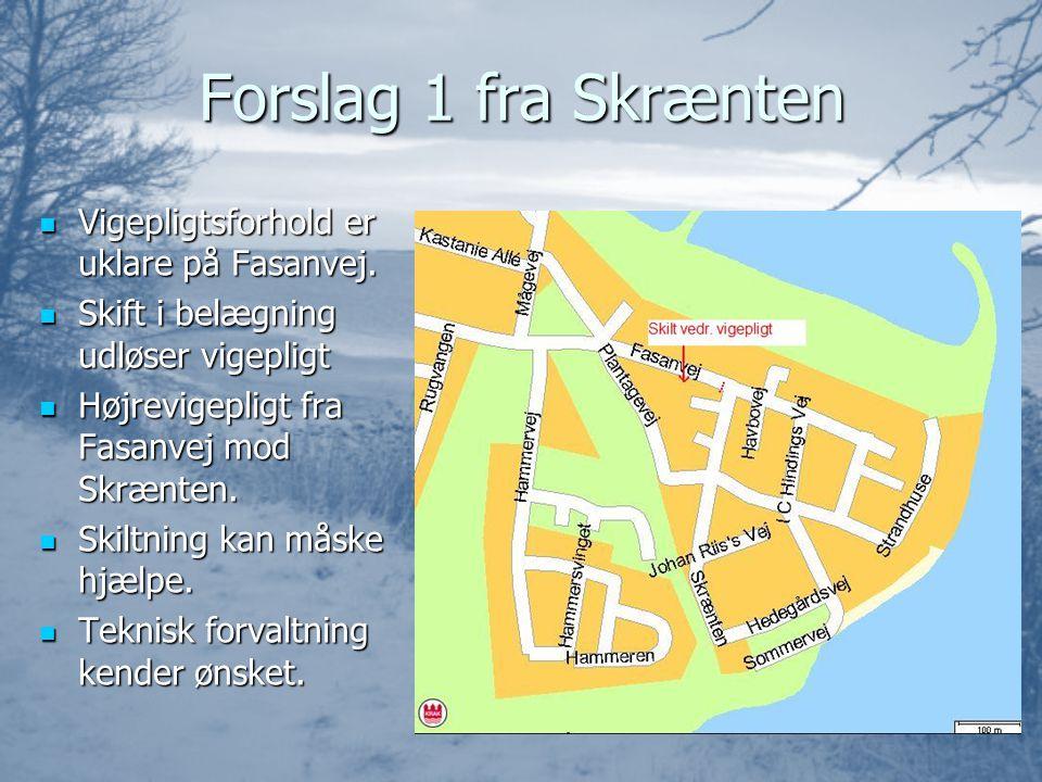 Forslag 1 fra Skrænten  Vigepligtsforhold er uklare på Fasanvej.