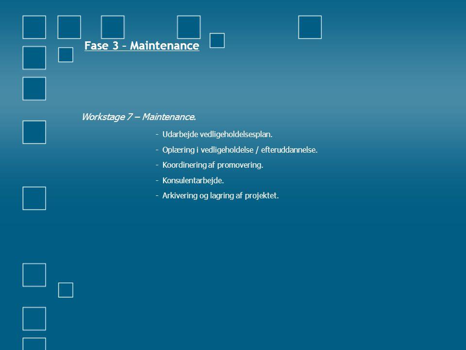 Fase 3 – Maintenance Workstage 7 – Maintenance. - Udarbejde vedligeholdelsesplan. - Oplæring i vedligeholdelse / efteruddannelse. - Koordinering af pr
