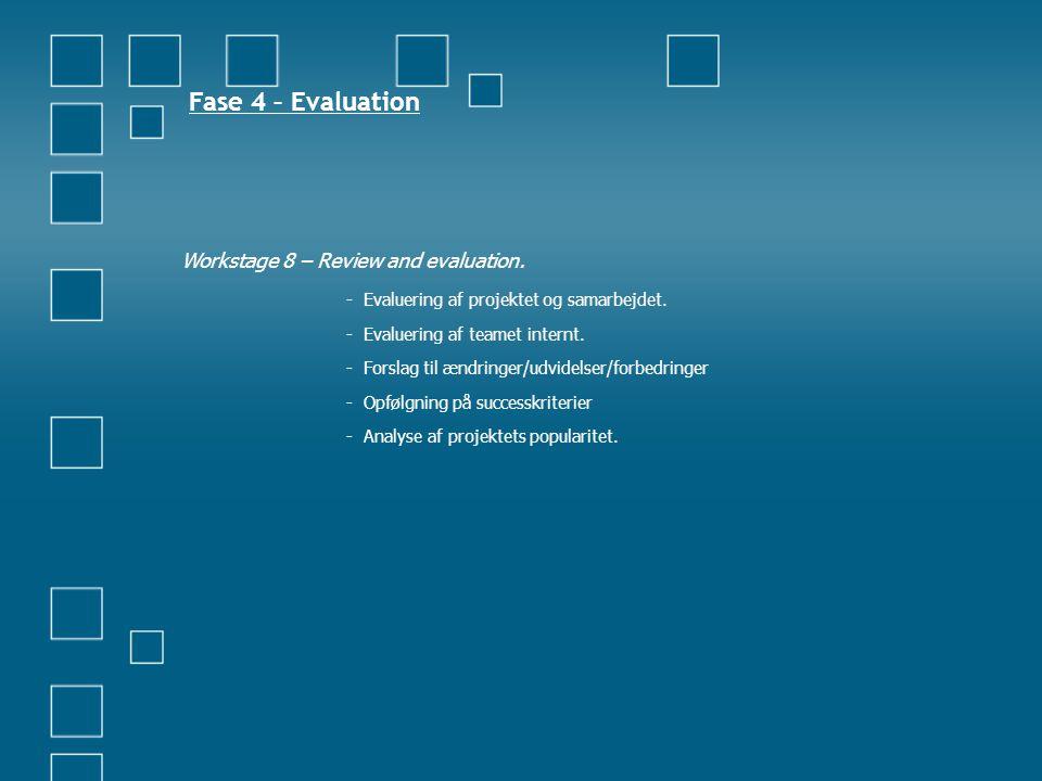 Fase 4 – Evaluation Workstage 8 – Review and evaluation. - Evaluering af projektet og samarbejdet. - Evaluering af teamet internt. - Forslag til ændri