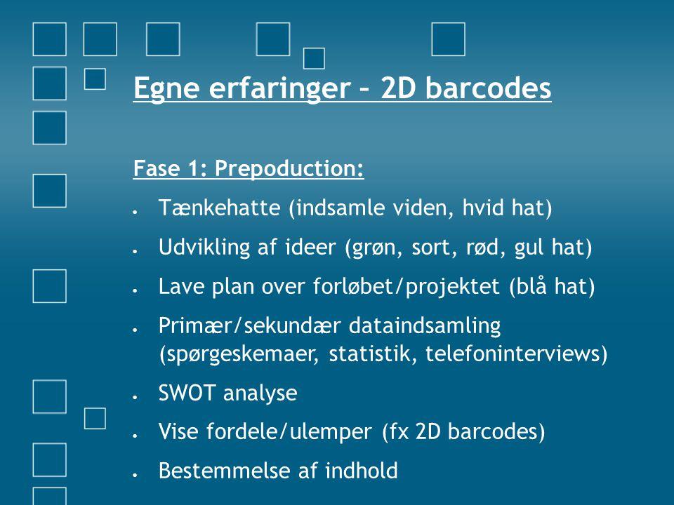 Egne erfaringer – 2D barcodes Fase 1: Prepoduction:  Tænkehatte (indsamle viden, hvid hat)  Udvikling af ideer (grøn, sort, rød, gul hat)  Lave plan over forløbet/projektet (blå hat)  Primær/sekundær dataindsamling (spørgeskemaer, statistik, telefoninterviews)  SWOT analyse  Vise fordele/ulemper (fx 2D barcodes)  Bestemmelse af indhold