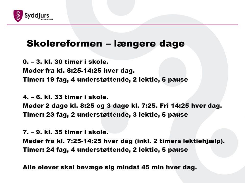 Skolereformen – længere dage 0. – 3. kl. 30 timer i skole.