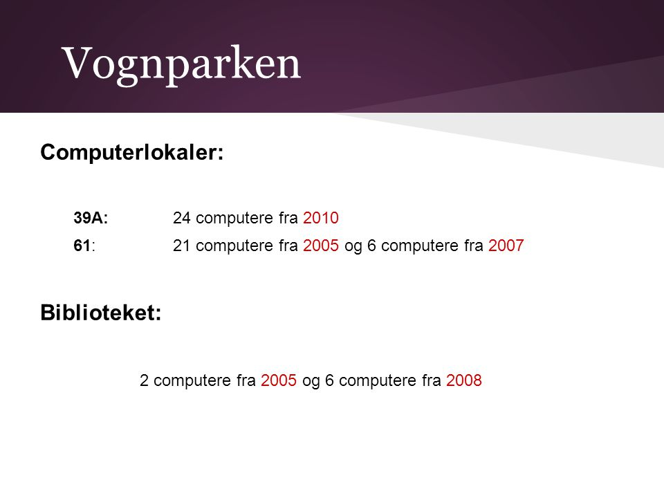 Vognparken Computerlokaler: 39A: 24 computere fra 2010 61: 21 computere fra 2005 og 6 computere fra 2007 Biblioteket: 2 computere fra 2005 og 6 computere fra 2008