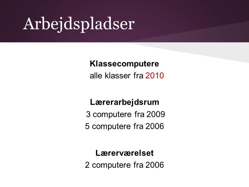 Arbejdspladser Klassecomputere alle klasser fra 2010 Lærerarbejdsrum 3 computere fra 2009 5 computere fra 2006 Lærerværelset 2 computere fra 2006