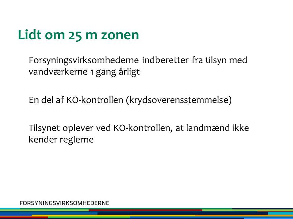 Lidt om 25 m zonen Forsyningsvirksomhederne indberetter fra tilsyn med vandværkerne 1 gang årligt En del af KO-kontrollen (krydsoverensstemmelse) Tilsynet oplever ved KO-kontrollen, at landmænd ikke kender reglerne