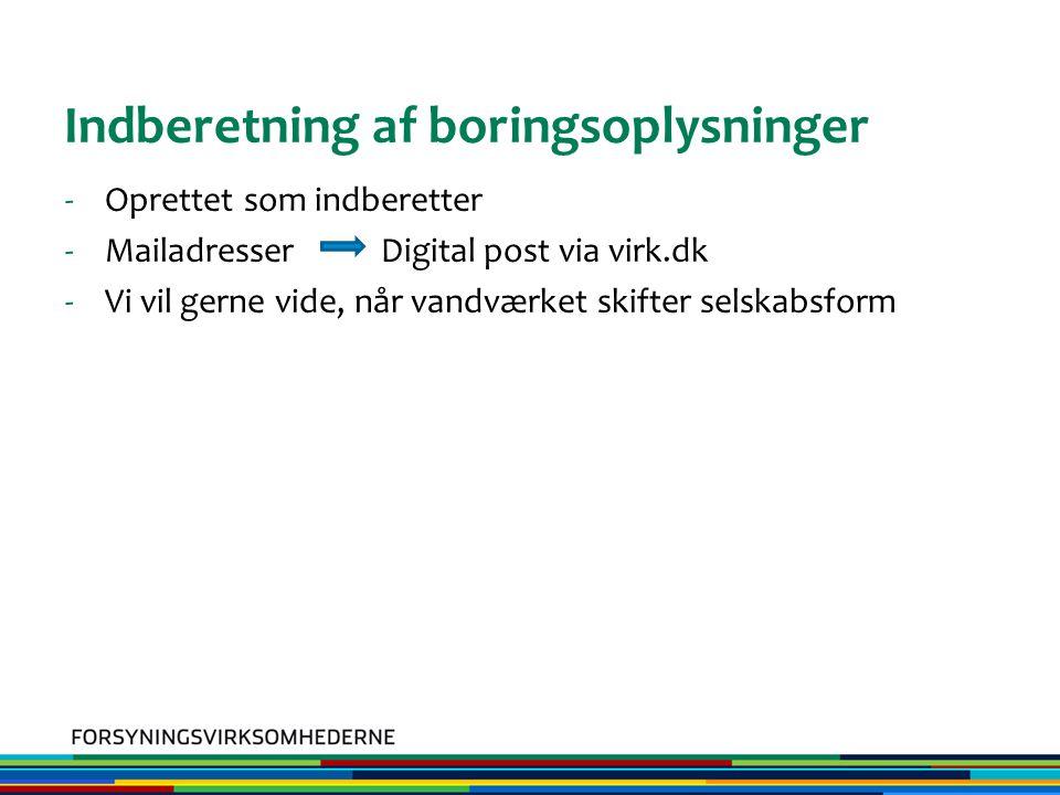 Indberetning af boringsoplysninger -Oprettet som indberetter -Mailadresser Digital post via virk.dk -Vi vil gerne vide, når vandværket skifter selskabsform