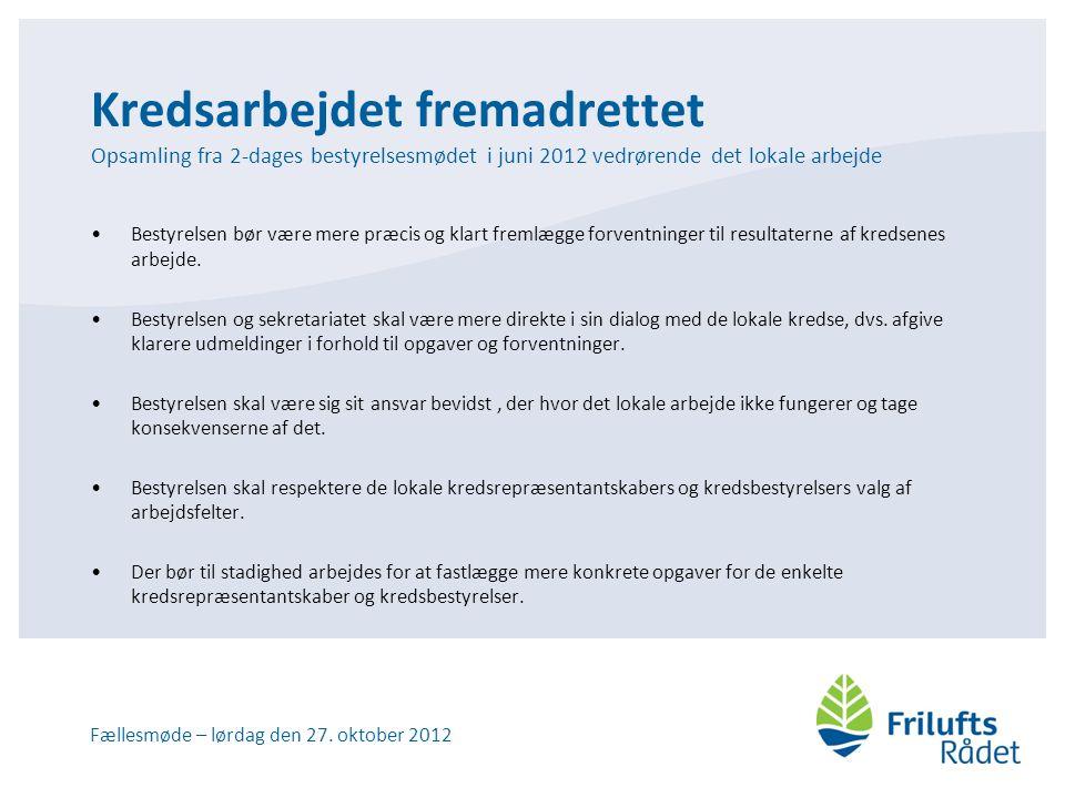 Kredsarbejdet fremadrettet Opsamling fra 2-dages bestyrelsesmødet i juni 2012 vedrørende det lokale arbejde •Bestyrelsen bør være mere præcis og klart fremlægge forventninger til resultaterne af kredsenes arbejde.