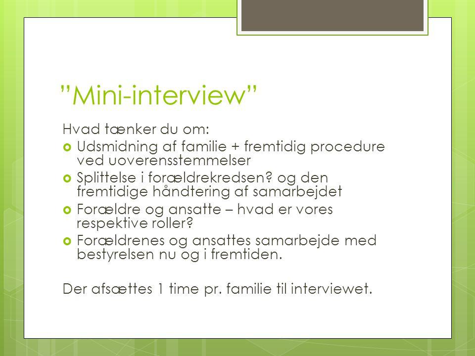 Mini-interview Hvad tænker du om:  Udsmidning af familie + fremtidig procedure ved uoverensstemmelser  Splittelse i forældrekredsen.
