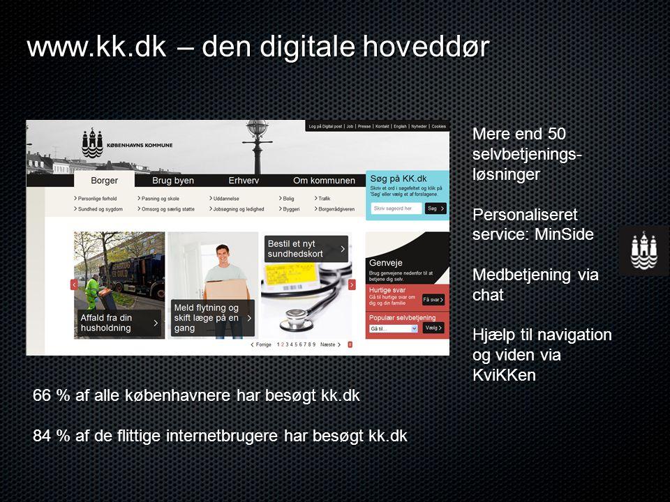 www.kk.dk – den digitale hoveddør Mere end 50 selvbetjenings- løsninger Personaliseret service: MinSide Medbetjening via chat Hjælp til navigation og viden via KviKKen 66 % af alle københavnere har besøgt kk.dk 84 % af de flittige internetbrugere har besøgt kk.dk