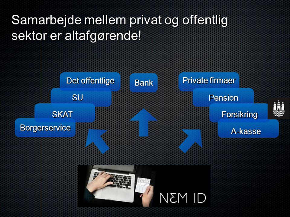 Borgerservice Bank SKAT SU Det offentlige A-kasse Forsikring Pension Private firmaer Samarbejde mellem privat og offentlig sektor er altafgørende!