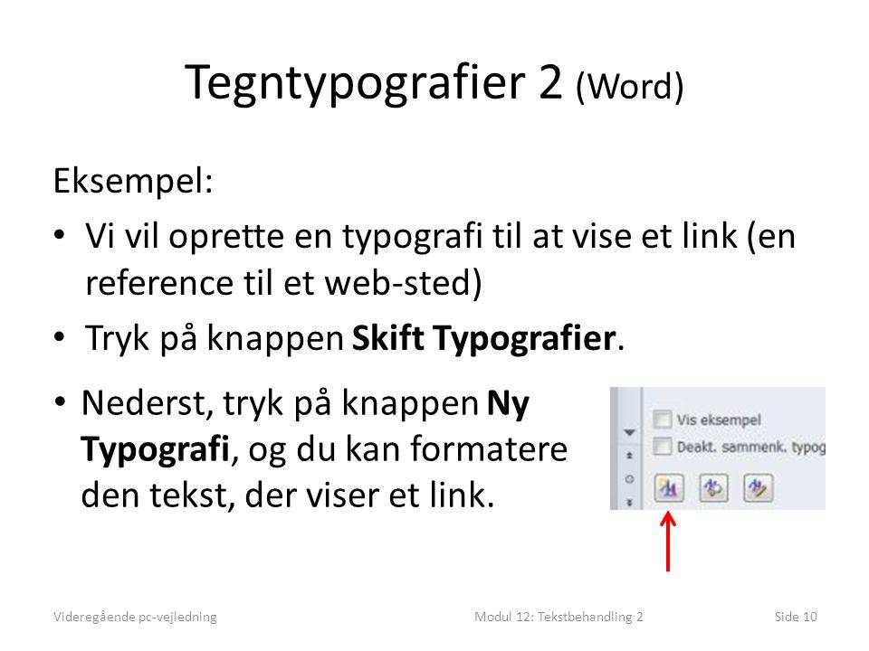 Tegntypografier 2 (Word) Eksempel: • Vi vil oprette en typografi til at vise et link (en reference til et web-sted) • Tryk på knappen Skift Typografier.