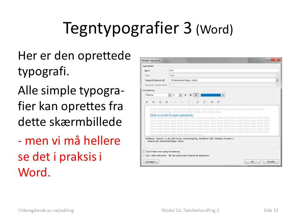Tegntypografier 3 (Word) Videregående pc-vejledningModul 12: Tekstbehandling 2Side 11 Her er den oprettede typografi.