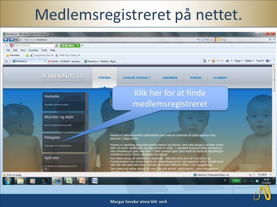 Medlemsregistreret på nettet.
