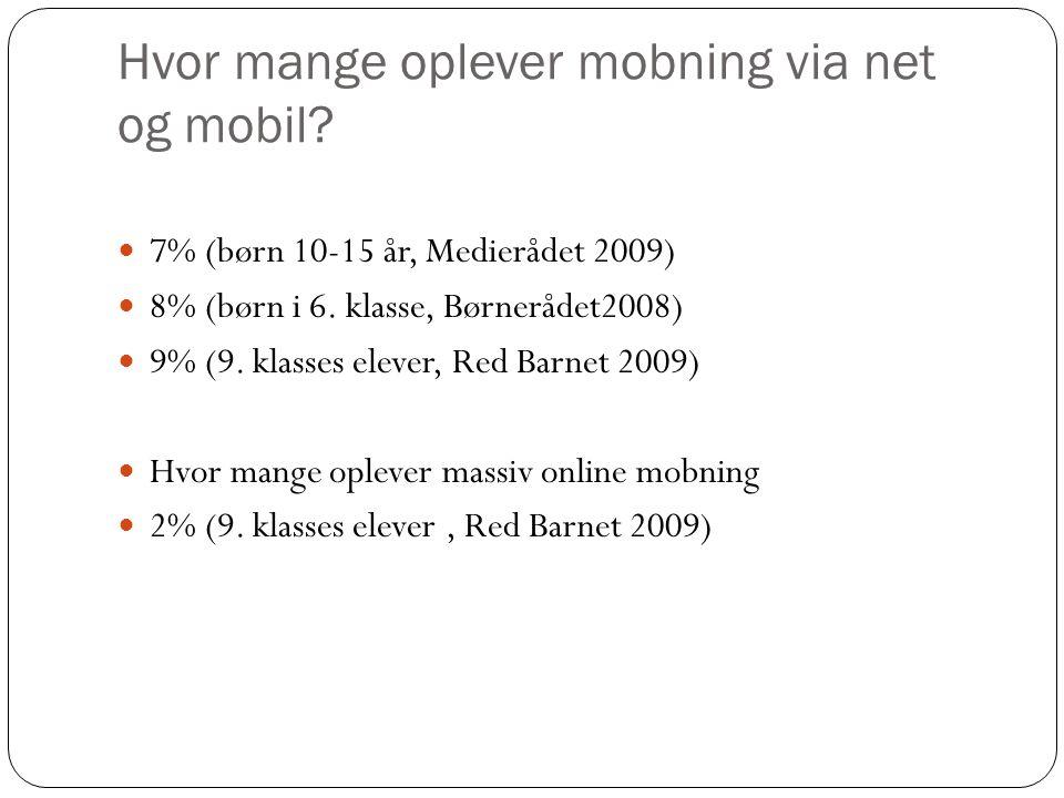 Hvor mange oplever mobning via net og mobil.  7% (børn 10-15 år, Medierådet 2009)  8% (børn i 6.