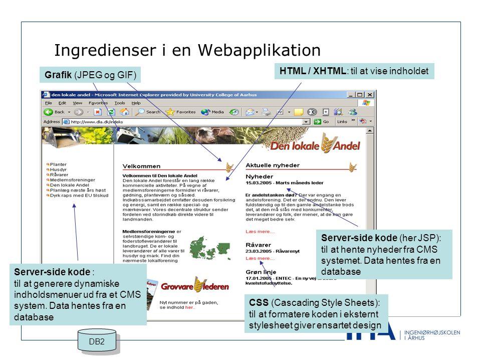 Ingredienser i en Webapplikation Grafik (JPEG og GIF) HTML / XHTML: til at vise indholdet Server-side kode : til at generere dynamiske indholdsmenuer ud fra et CMS system.