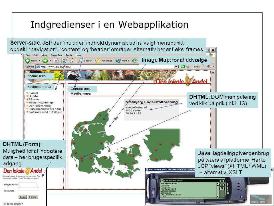 Indgredienser i en Webapplikation Image Map: for at udvælge DHTML: DOM manipulering ved klik på prik (inkl.