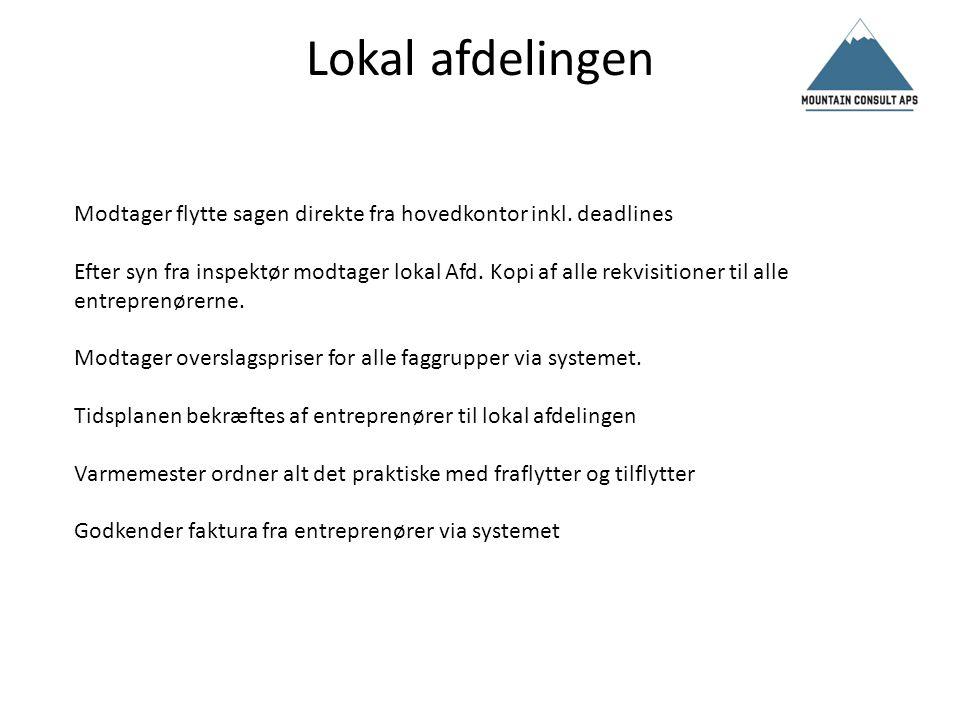 Entreprenører Modtager info fra systemet via hovedkontoret ang.