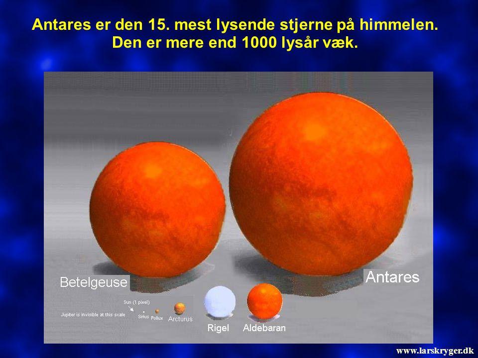 Antares er den 15. mest lysende stjerne på himmelen. Den er mere end 1000 lysår væk. www.larskryger.dk
