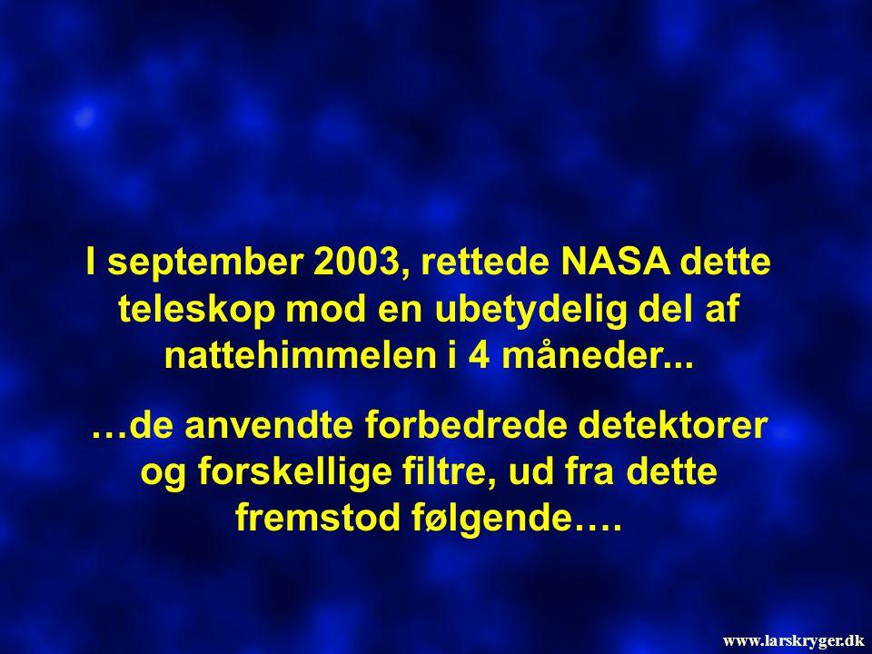 I september 2003, rettede NASA dette teleskop mod en ubetydelig del af nattehimmelen i 4 måneder... …de anvendte forbedrede detektorer og forskellige